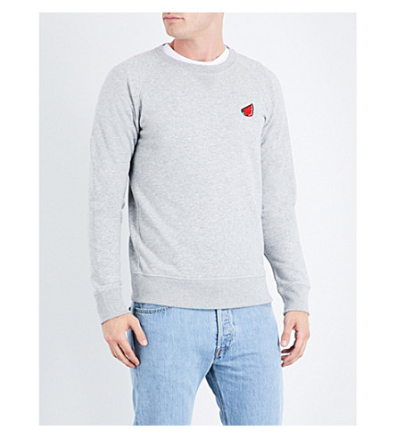 BRICKTOWN WORLD Watermelon-embroidered cotton-blend sweatshirt (Grey