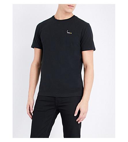 BRICKTOWN WORLD Cigarette-embroidered cotton-jersey T-shirt (Black