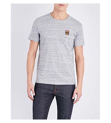 BRICKTOWN WORLD Hamburger-embroiderd cotton-jersey T-shirt (Slub+heather+grey