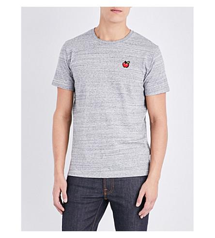 BRICKTOWN WORLD Apple-embroidered cotton-jersey T-shirt (Slub+heather+grey