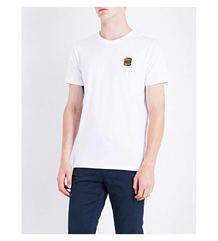 BRICKTOWN WORLD Hamburger-embroidered cotton-jersey T-shirt (White