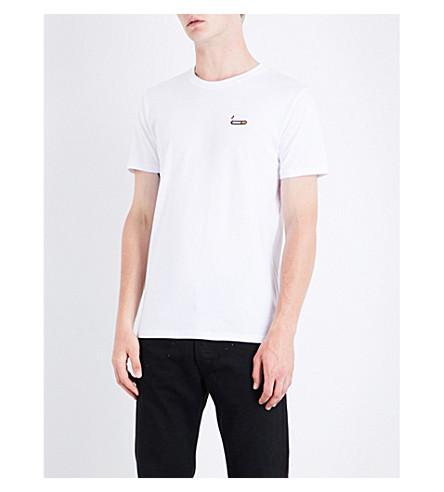 BRICKTOWN WORLD Cigarette-embroidered cotton-jersey T-shirt (White