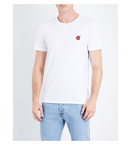 BRICKTOWN WORLD Apple-embroidered cotton-jersey T-shirt (White