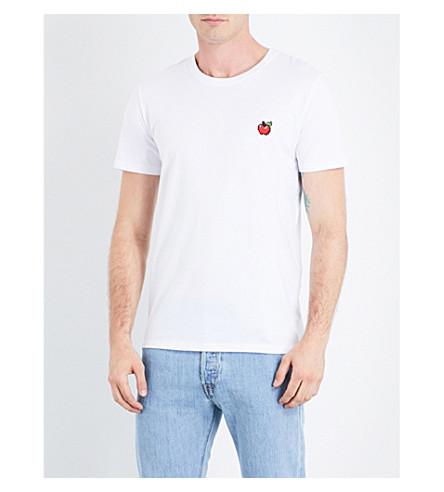 BRICKTOWN WORLD Apple-embroidered cotton-jersey T-shirt (White