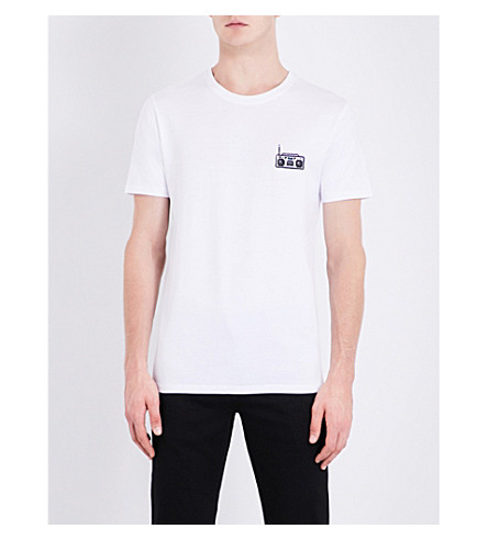 BRICKTOWN WORLD Boombox-embroidered cotton-jersey T-Shirt (White