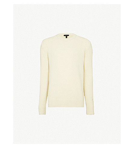 BELSTAFF Ribbed wool and cashmere-blend jumper (White