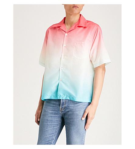 MKI MIYUKI-ZOKU Vacation regular-fit shell shirt (Red+blue