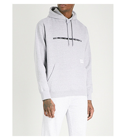 MKI MIYUKI-ZOKU Layered logo-print cotton-blend hoody (Grey