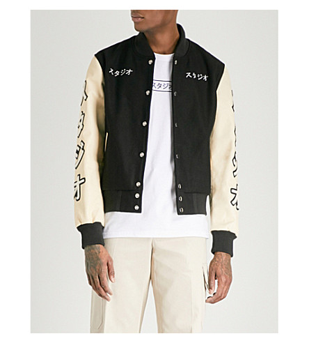 MKI MIYUKI-ZOKU Appliquéd wool-blend bomber jacket (Black/off+white