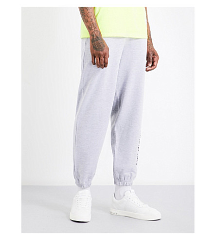 MKI MIYUKI-ZOKU Logo-print mid-rise cotton-blend jogging bottoms (Grey