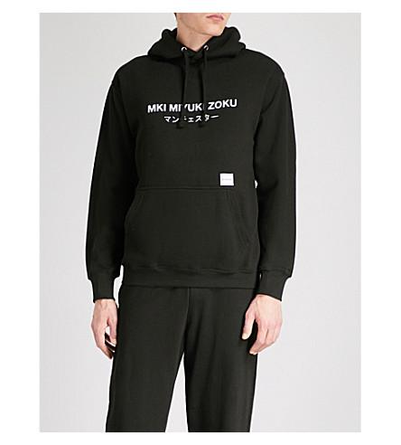 MKI MIYUKI-ZOKU Manchester logo cotton-jersey hoody (Black