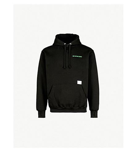 MKI MIYUKI-ZOKU Logo-embroidered cotton-jersey hoody (Black+/+green