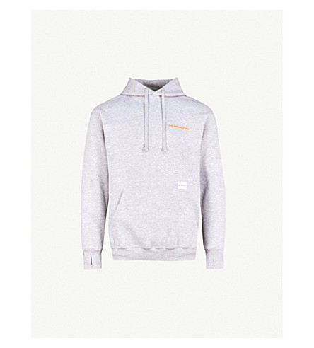 MKI MIYUKI-ZOKU Logo-embroidered cotton-jersey hoody (Grey / orange