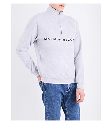 MKI MIYUKI-ZOKU Zip-collar cotton-blend sweatshirt (Grey