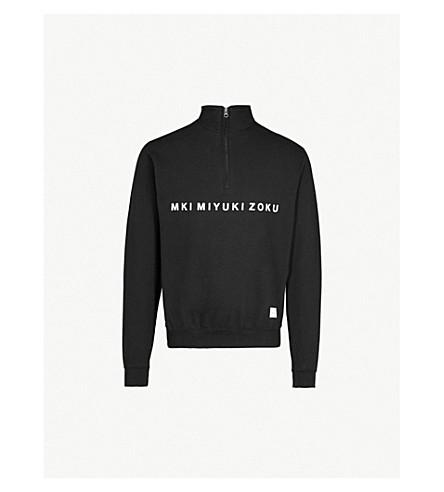 MKI MIYUKI-ZOKU Logo-print cotton-blend sweatshirt (Black