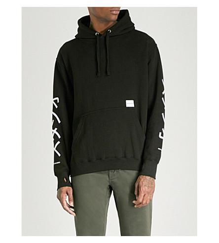 MKI MIYUKI-ZOKU Symbol-sleeve cotton-blend hoody (Black