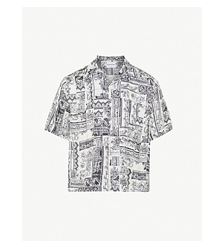MKI MIYUKI-ZOKU Tile-print regular-fit satin shirt (Black