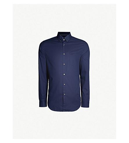 LACOSTE Slim-fit button-down collar cotton shirt (Navy blue/navy