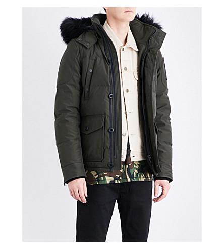 MOOSE KNUCKLES Algonquin hooded shell-down jacket (Olive/black