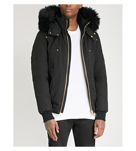 MOOSE KNUCKLES Hooded shearling and cotton-blend down jacket (Black