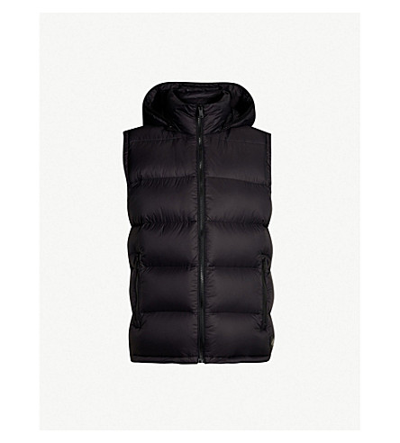 MOOSE KNUCKLES Sleeveless shell-down hooded gilet (Black
