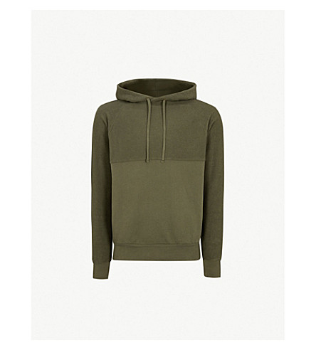 LES BASICS Panelled cotton-jersey hoody (Army