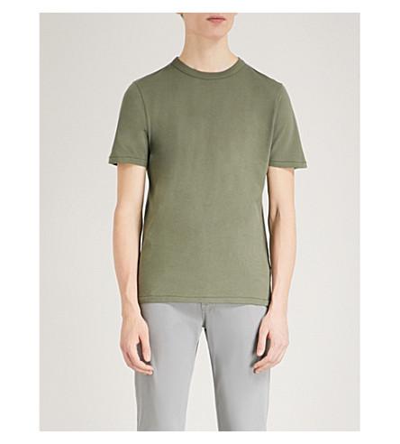 LES BASICS Le Crew mesh cotton-jersey T-shirt (Army