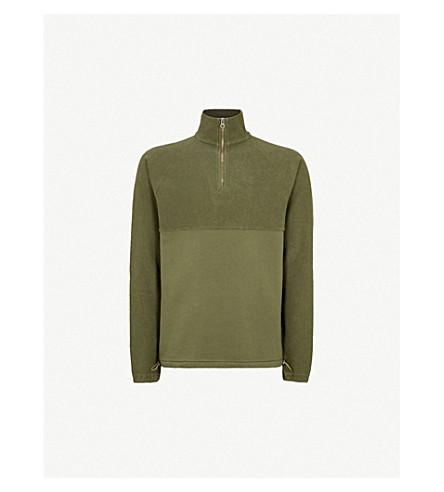 LES BASICS Le Zip cotton-jersey sweatshirt (Army