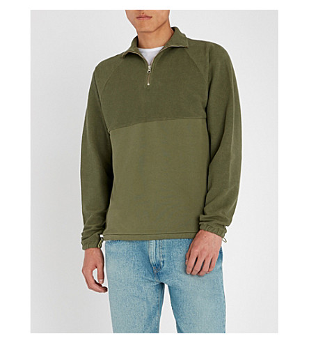 LES BASICS Le Zip cotton-jersey sweatshirt (Army