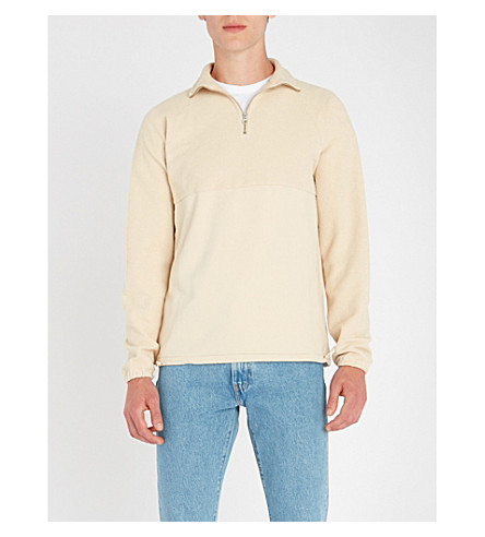 LES BASICS Le Zip cotton-jersey sweatshirt Stone Clearance Finishline Looking For For Sale Es2bHqC