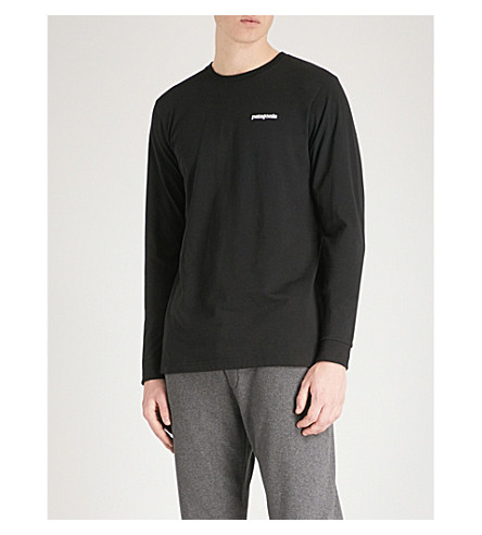 PATAGONIA Responsibili-tee logo-print recycled cotton-blend T-shirt (Black