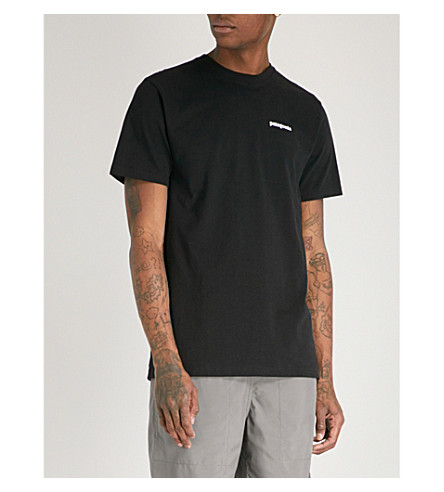 PATAGONIA Logo-print recycled cotton-blend T-shirt (Black