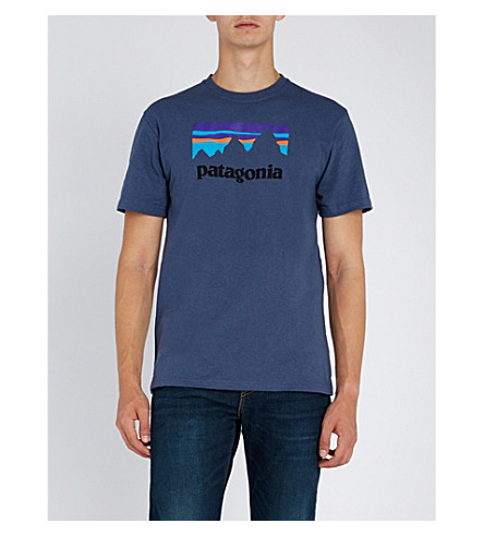PATAGONIA Responsibili-tee logo-print recycled cotton-blend T-shirt (Dolomite+blue