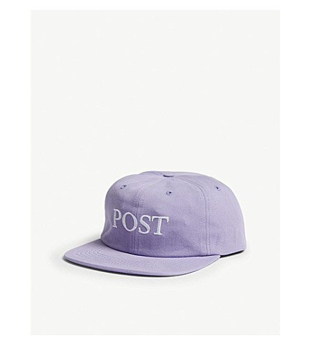 POST DETAILS Embroidered cotton strapback cap (Purple