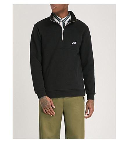 POST DETAILS Half-zip cotton-blend jumper (Black