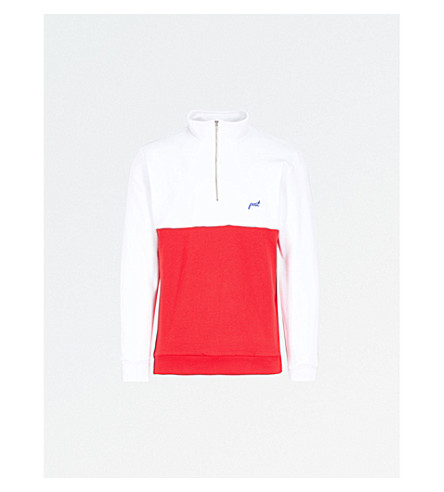 POST DETAILS Half-zip cotton-blend jumper (White/red