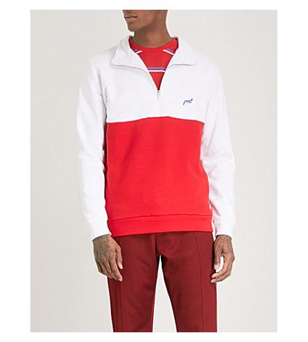 POST DETAILS Half-zip cotton-blend jumper (White/red