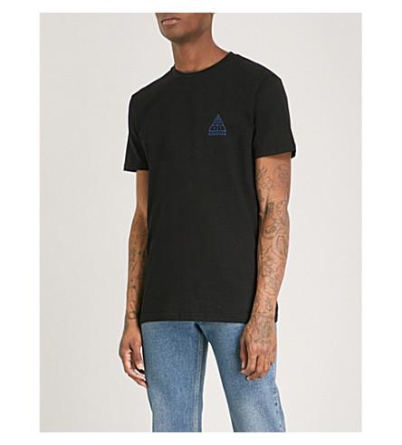 POST DETAILS Logo-print cotton-jersey T-shirt (Black