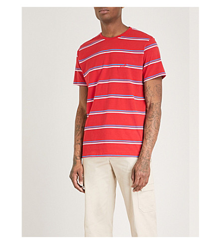 POST DETAILS Striped cotton-jersey T-shirt (Red+str