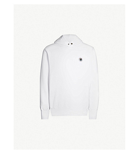 AIME LEON DORE Logo-embroidered cotton-jersey hoody (White