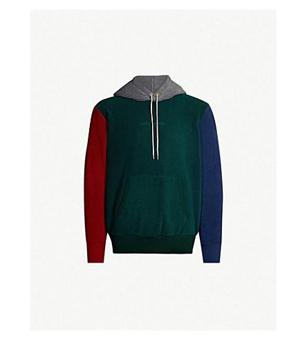 AIME LEON DORE Colour-blocked fleece hoody (Burgundy/grey/grn/nvy