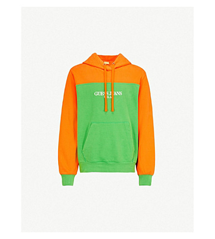 GUESS JEANS USA Farmers Market colour-blocked cotton-jersey sweatshirt (Green+apple/orange