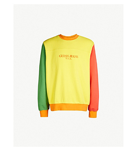 GUESS JEANS USA Farmers Market logo-embroidered cotton-jersey sweatshirt (Pineapple+yellow/grn/red