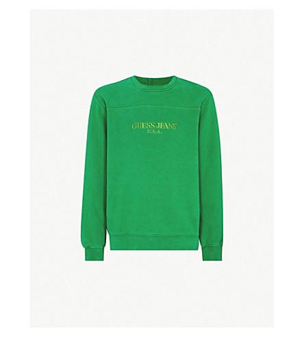 GUESS JEANS USA Farmers Market logo-embroidered cotton-jersey sweatshirt (Organic+green