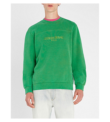 GUESS JEANS USA Farmers Market logo-embroidered cotton-jersey sweatshirt (Organic+green