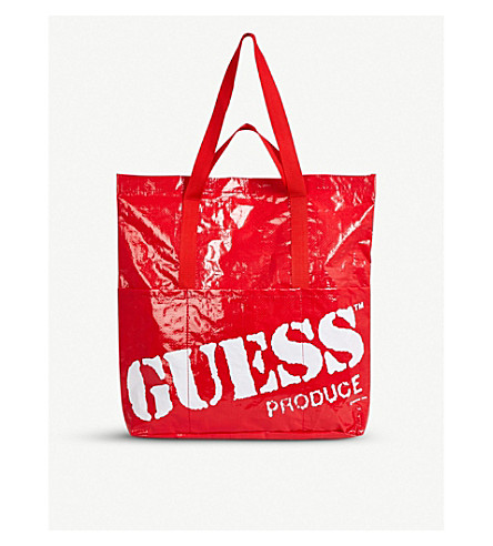 Farmers logo Market print GUESS bag tote Red USA JEANS gHAxqwwEZ