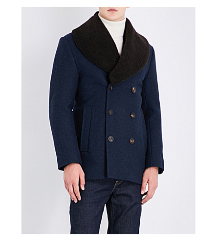 KENT & CURWEN Nicholson double-breasted wool-blend peacoat (Navy+melange