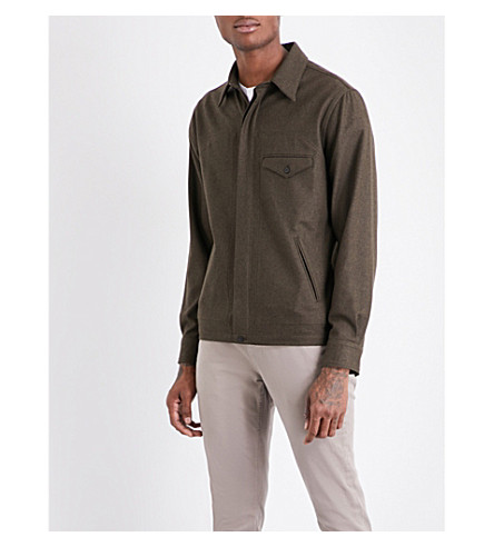 KENT & CURWEN Blackheath regular-fit wool shirt (Deep+olive