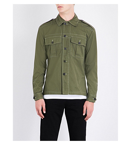 KENT & CURWEN Cadet slim-fit cotton shirt (Olive