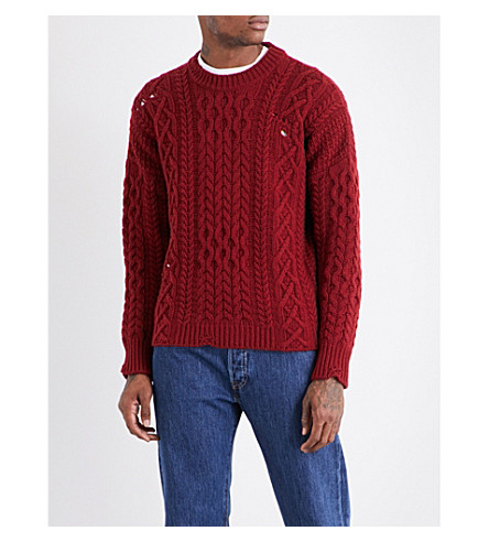 KENT & CURWEN Linton destroyed aran-knit wool jumper (Deep+red